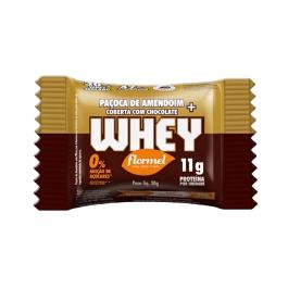 Paçoca de Amendoim Coberta com Chocolate + Whey 30G – Flormel – Sem Glúten Sem Açúcar